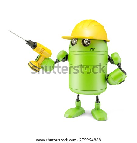 3D robot with drill. Technology concept. Isolated on white background - stock photo