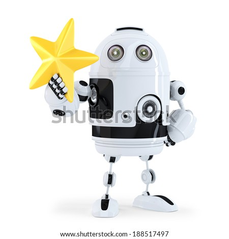 3D Robot with golden star. Isolated.