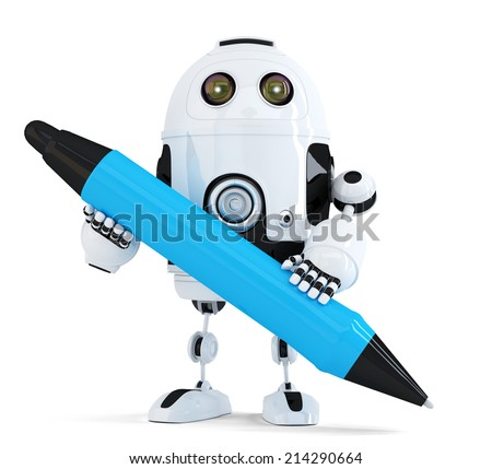 3d Robot with pen. Isolated on white. Contains clipping path - stock photo