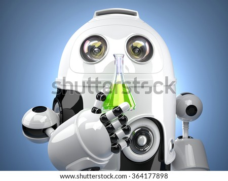 3D Robot with test glass flask - stock photo