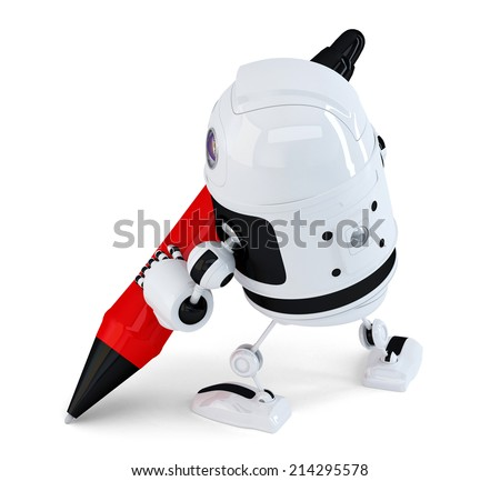 3d Robot writing with a pen. Isolated. Contains clipping path - stock photo