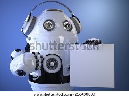 3D Robotic operator with headset and blank board. Technology concept. Contains clipping path - stock photo