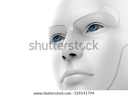 3d robotic woman - face detail view - stock photo