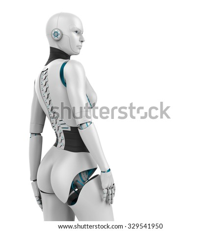 3d robotic woman - isolated on white background - stock photo