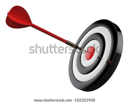 3d rocket flying to target - stock photo
