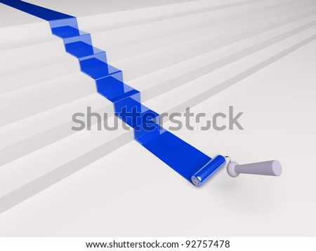 3d roller and blue paint stripe on the stairs