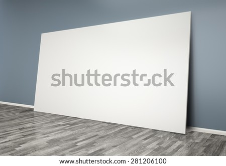 3d  room with blank poster on wall