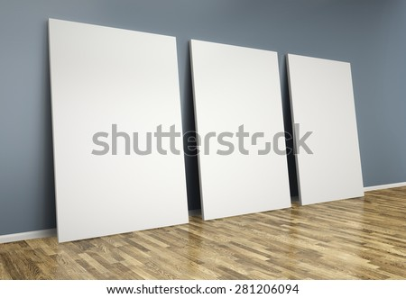 3d  room with blank posters on wall - stock photo