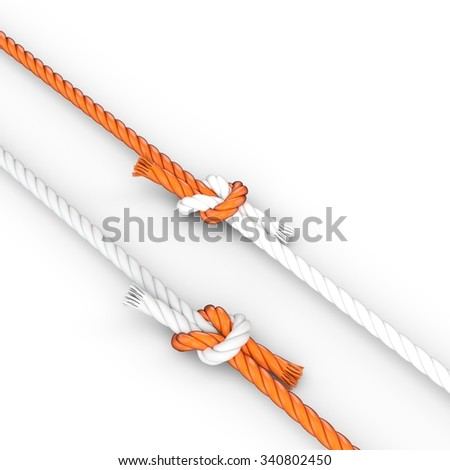 3d rope with knots on white background - stock photo