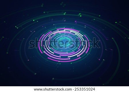 3D rotating circular elements background - stock photo