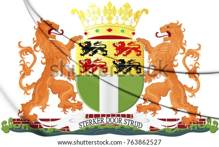 3D Rotterdam coat of arms, Netherlands. 3D Illustration.