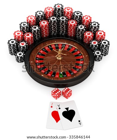 3D roulette with pocker chips and pocker cards on white background - stock photo