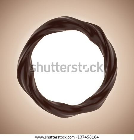 3d round banner with liquid chocolate splash twisted frame border - stock photo