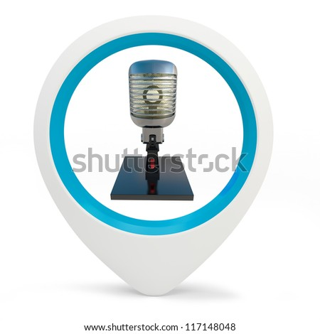 3d round pointer with microphone  on white background