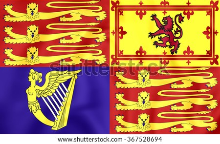 3D Royal Standard of United Kingdom. Close Up. - stock photo