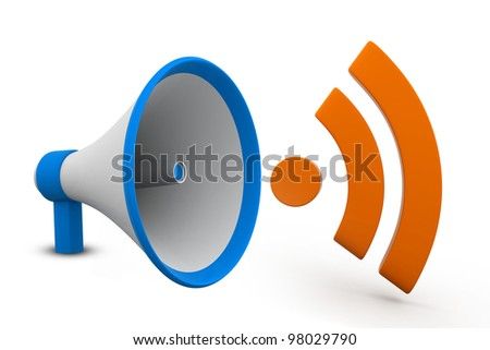 3d RSS icon and phone isolated on white background - stock photo
