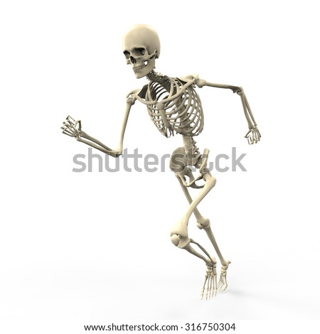 3D running skeleton isolated on white background - stock photo