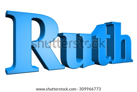 3D Ruth text on white background