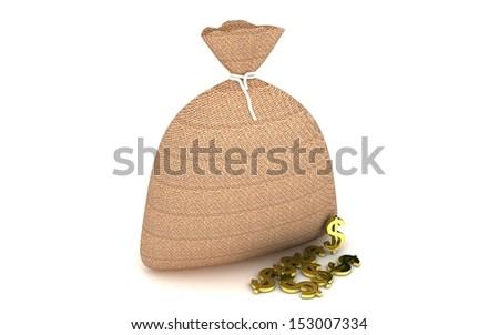 3d Sack and money - stock photo
