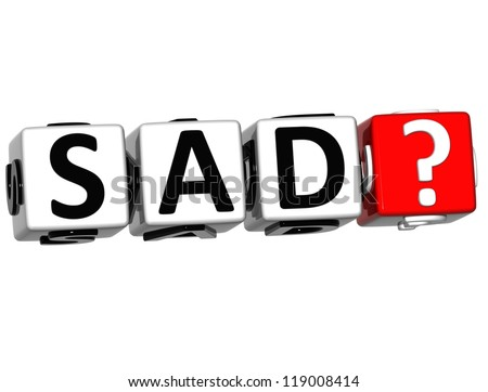 3D Sad Button Click Here Block Text over white background - stock photo