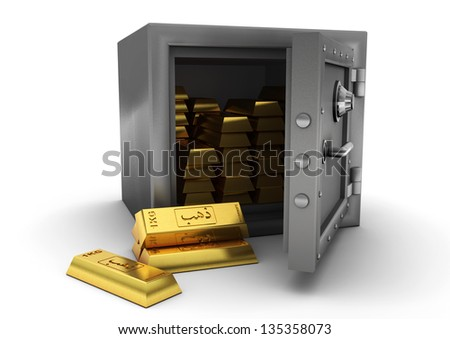 3D safe and gold bars