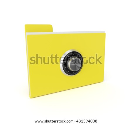 3d safe folder isolated over white background. Data security concept.