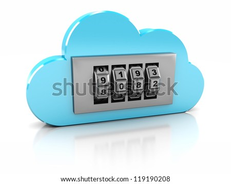 3d safe in blue cloud- protection information - stock photo
