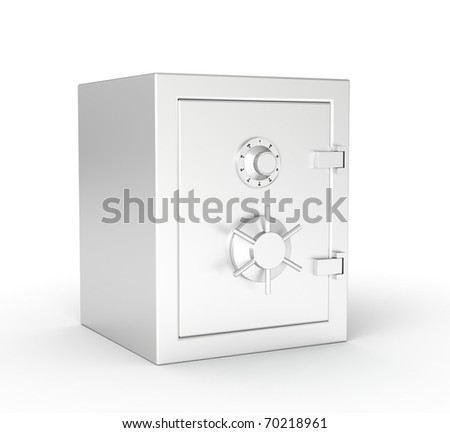 3d safe isolated on white background - stock photo