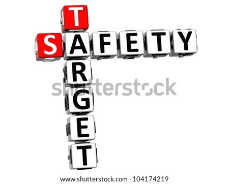 3D Safety Target Crossword on white background