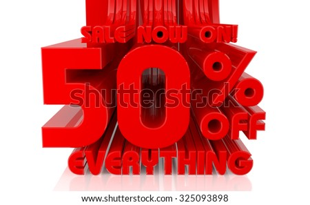 3D SALE NOW ON 50% OFF EVERYTHING word on white background 3d rendering - stock photo