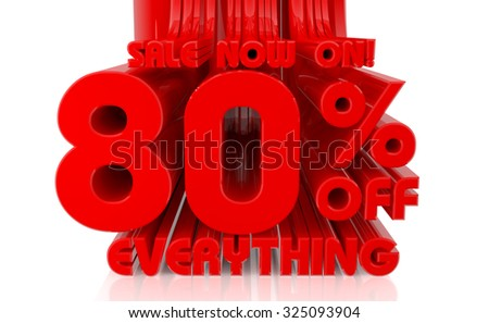 3D SALE NOW ON 85% OFF EVERYTHING word on white background 3d rendering - stock photo