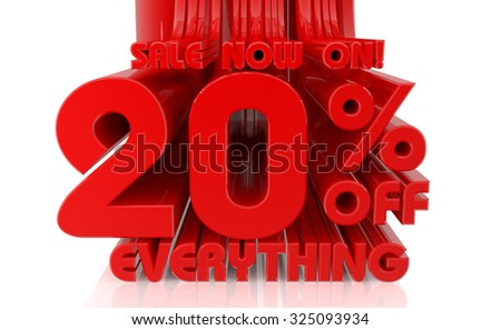 3D SALE NOW ON 20% OFF EVERYTHING word on white background 3d rendering - stock photo