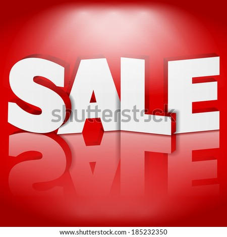 3D Sale on red background - stock photo
