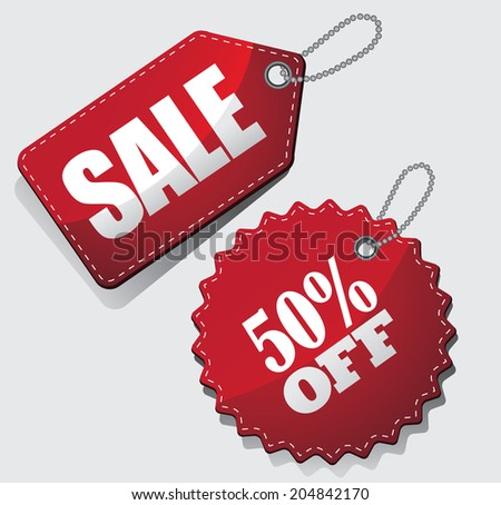 3D Sale tags.  - stock photo