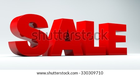 3D sale word on white isolated background