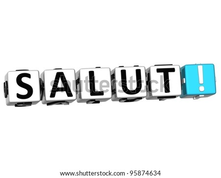 3D Salut block text on white background - stock photo