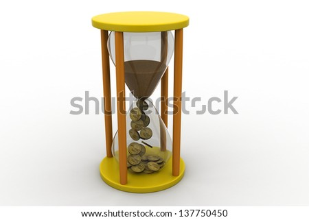 3d sandglass isolated on a white background