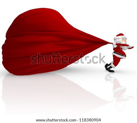3D Santa carrying a heavy gift sack - isolated over white background - stock photo