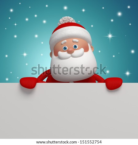 3d Santa Claus holding blank Christmas banner - stock photo