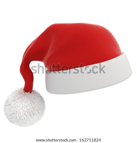 3d Santa claus red hat on white background - stock photo