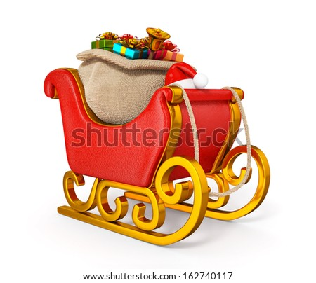 3d santa claus sleigh with gift sack isolated