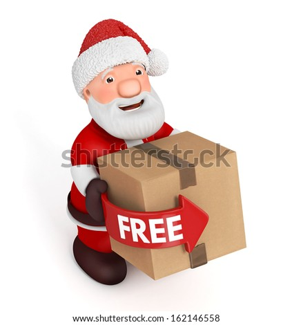 3d Santa Claus with cardboard box on white background - stock photo