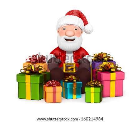 3D Santa Claus with gifts on white background - stock photo