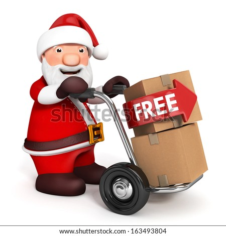 3d Santa Claus with hand barrow and cardboard box  - stock photo