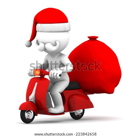3d Santa on a scooter delivering Christmas gifts - stock photo
