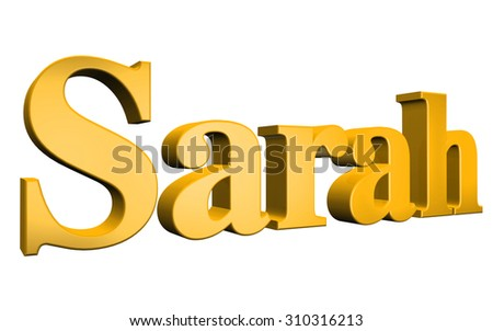 3D Sarah text on white background