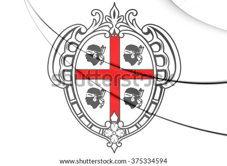 3D Sardinia Coat of Arms, Italy. Close Up. - stock photo
