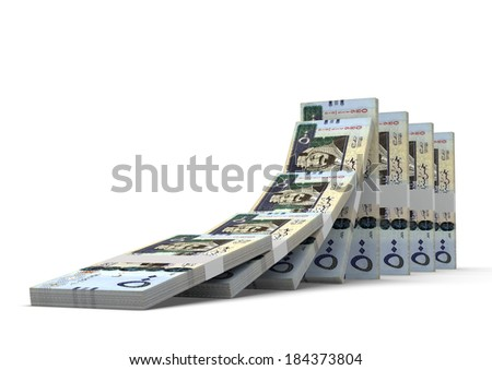 3D saudi money dominoes stacked falling and collapsing  isolated on white background - stock photo