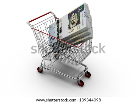 3D Saudi money in shopping cart isolated on white background