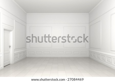3d scene of an empty white classic room - stock photo